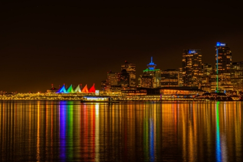 10 points-Rainbow colours -Vancouver Waterfront at night-Mervyn Perera